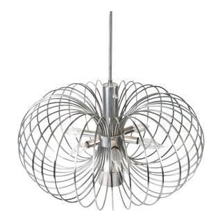 Gaetano Sciolari for Lightolier Round Metal Cage Chandelier For Sale