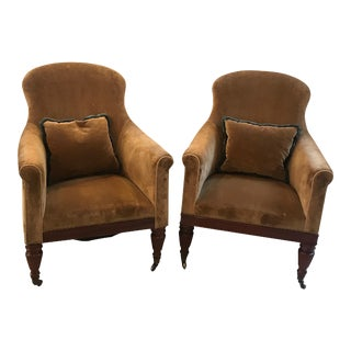 Early 20th Century High Back Tub Chairs - A Pair For Sale