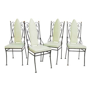 Vintage Cathedral Black Wrought Iron Dining Chairs - Set of 4 For Sale