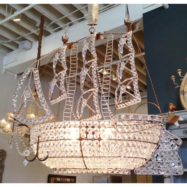 """Beautiful 1920s Venetian Crystal sailboat chandelier complete with sails, lifeboat, and anchors. Works perfectly. 37""""..."""