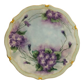 Elegant Hand Painted French Limoges Singed by the Artist Purple &Green Floral Plate For Sale