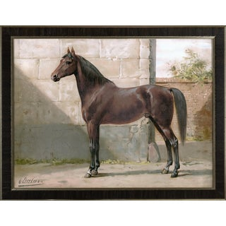 East Prussian Horse by Eerelman Framed in Italian Wood Vener Moulding For Sale