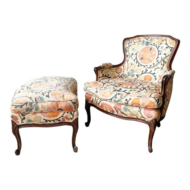 """Louis XV Style Armchair and Ottoman in Brunschwig & Fils """"Dzhambul"""" Fabric For Sale"""