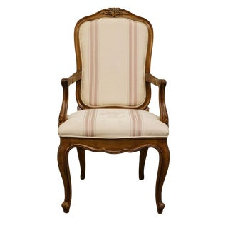 Late 20th Century High End Country French Provincial Upholstered Accent Arm Chair For Sale