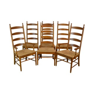 Thomasville Vintage Solid Cherry Wood Set 6 Ladder Back Rush Seat Dining Chairs For Sale