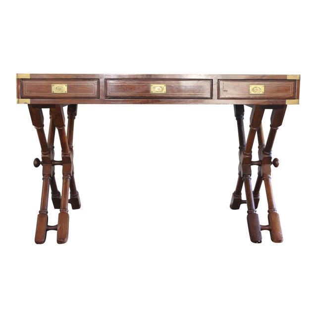 Campaign Style Rosewood & Brass Inlay Desk For Sale