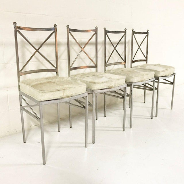 Set of 8 Mid-Century Swedish Polished Steel Dining Chairs With Custom Ivory Cowhide Cushions For Sale - Image 4 of 10