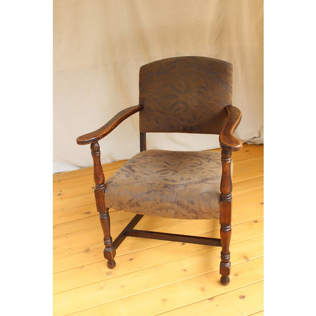 Early American Cottage Style Upholstered Armchair | Chairish