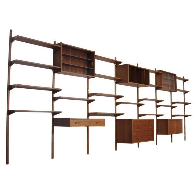 Mid Century Danish 7 Bay Teak Shelving Unit by Ps System For Sale