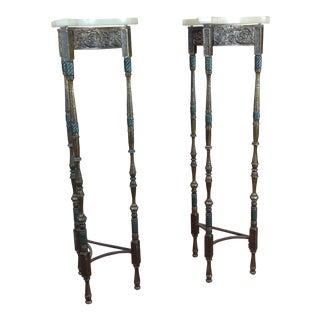Antique Spanish Tripod Onyx Top Bronze Pedestals - a Pair