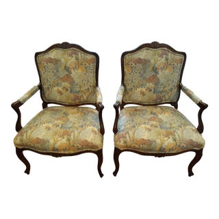 "1970s Vintage Henredon ""Four Centuries"" Tapestry French Chairs- A Pair For Sale"