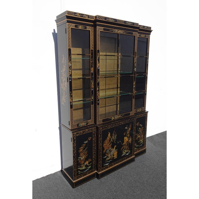 Drexel Vintage Drexel Oriental Asian Chippendale Chinoiserie Black China Cabinet Hutch For Sale - Image 4 of 13
