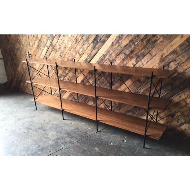 Custom Handmade Iron & Walnut Shelf - Image 3 of 5
