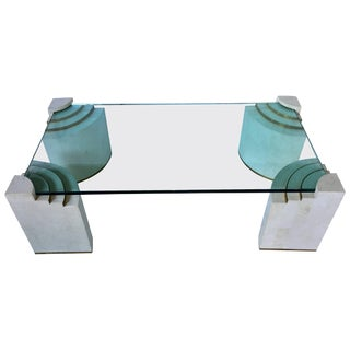 Tessellated Stone and Brass Cocktail Table by Marcius For Sale