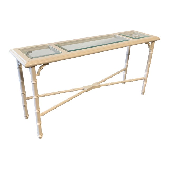 Faux Bamboo and Glass Console Table For Sale
