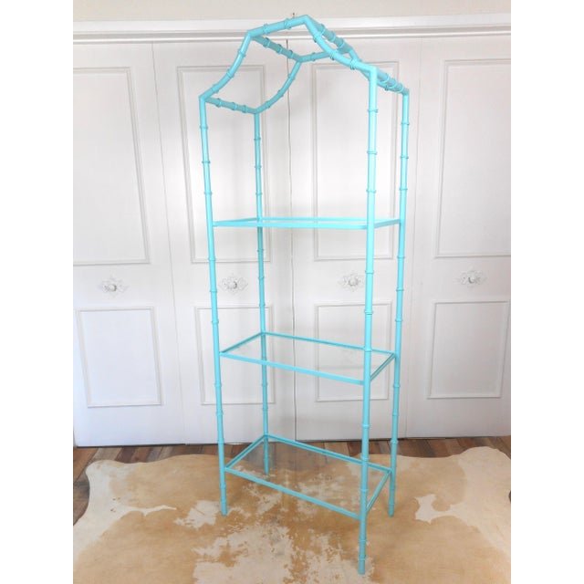 Metal Faux Bamboo Turquoise Etagere Shelf For Sale - Image 7 of 7