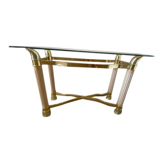 Mid Century Brass, Fluted Wood and Glass Console For Sale