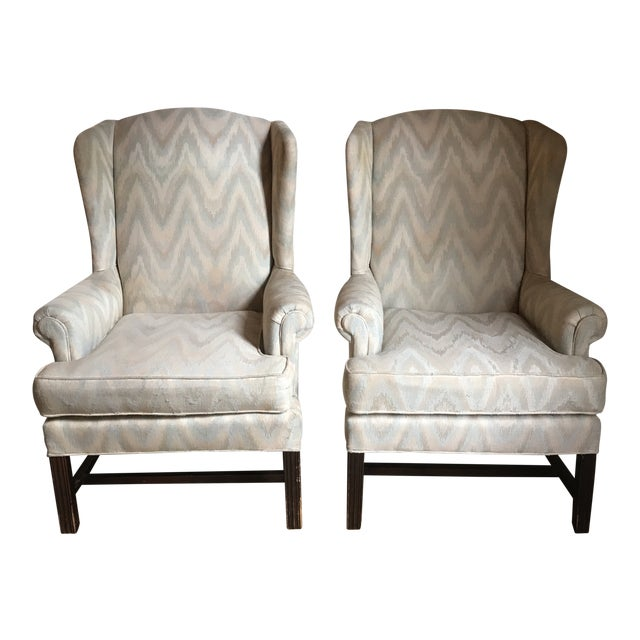 1980s Vintage Houston House Flame Stitch Wingback Chairs - A Pair For Sale