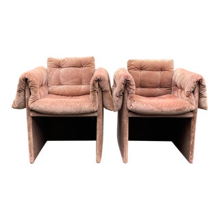 Vintage Custom Made Blush Velvet Lounge Chairs - a Pair For Sale