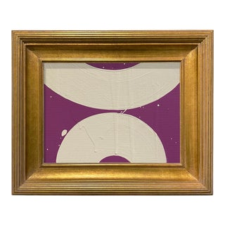 Ron Giusti Mini Wagasa Purple and Cream Acrylic Painting, Framed For Sale