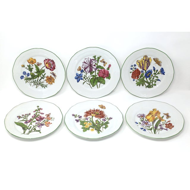 Vintage Bavarian China Floral Salad Plates by Bareuther - Set of 6 For Sale - Image 12 of 12