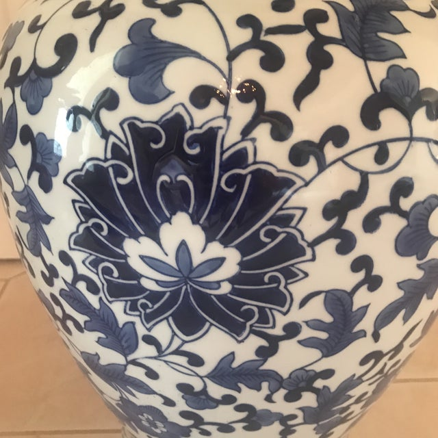 Americana Large Blue & White Ginger Jar For Sale - Image 3 of 10