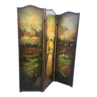 6 Ft Antique Painted Leather Screen W/ Pastural Scene For Sale
