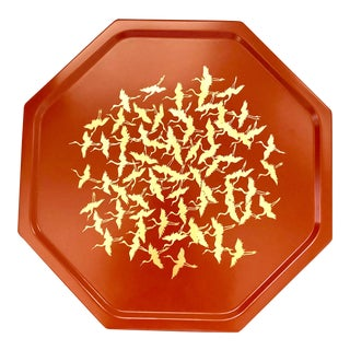 Japanese Lacquer Tray Plate Orange Red Coral Gold Foil Flying Cranes Antique Octagon Geometric 12 Inch For Sale
