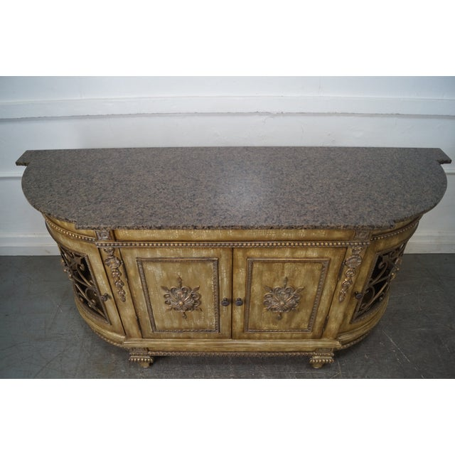 Faux Painted French Style Marble-Top Sideboard with Iron Doors - Image 8 of 10