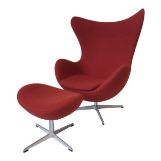 Arne Jacobsen Egg Chair and Ottoman For Sale