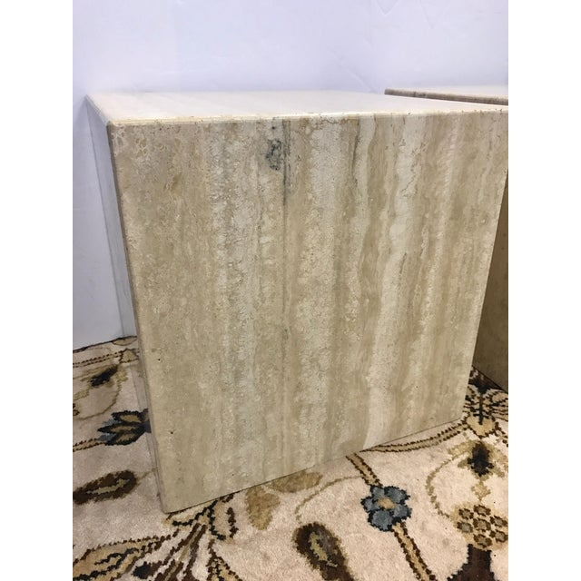 Pair of Midcentury Travertine Cube End Table Stools Italy For Sale - Image 4 of 7