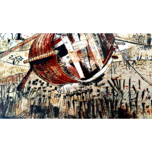 Brown Beached Rowboats Serigraph by Federico Righi For Sale - Image 8 of 10