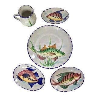 Vietri Al Mare Ceramic Plates - & Pitcher - 5 Pieces For Sale