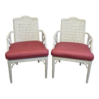 1970s Chinoiserie Faux Bamboo Caned Backed Armchairs - a Pair For Sale