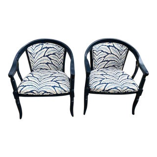 Brunschwig & Fils Fabric Navy & White Chairs - A Pair