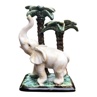 Ceramic Elephant With Palm Tree Figurine