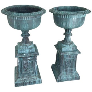Pair of Neoclassical Cast Iron Garden Urns, Signed For Sale