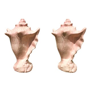 Oversized Pink Ceramic Seashell Sculptures-A Pair For Sale