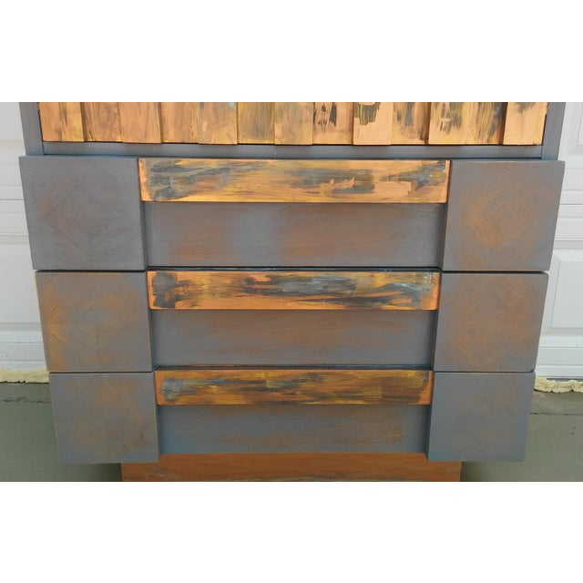 Copper Mid-Century Modern Lane Brutalist Tall Dresser For Sale - Image 7 of 10