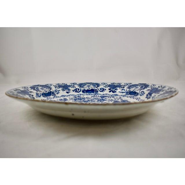 18th C. Dutch Delft Cobalt Blue Floral Faïence Charger For Sale In Philadelphia - Image 6 of 11
