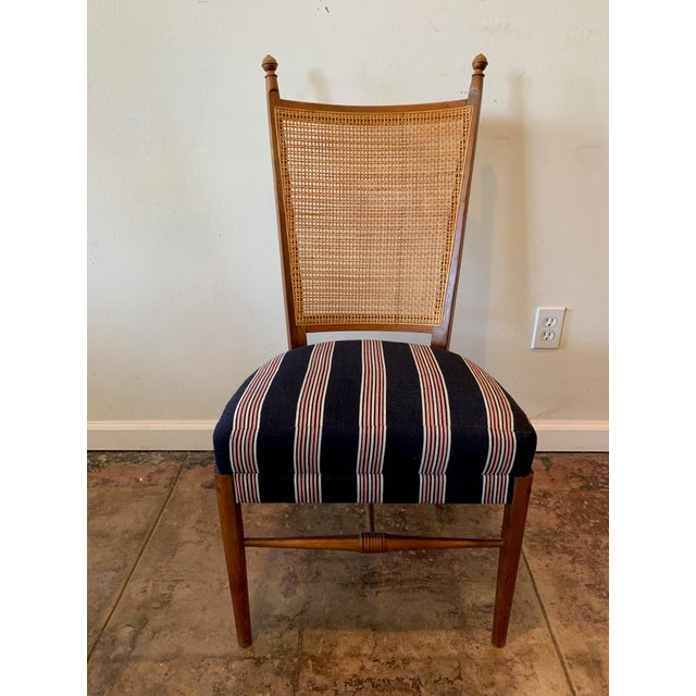 French Vintage French Cane Back Chairs With Upholstered Seats - Set of 4 For Sale - Image 3 of 8