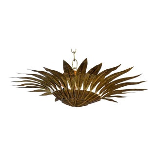 Spanish Semi-Flush Gilt Metal Sunburst Light Fixture with Carved Pointing Leaves