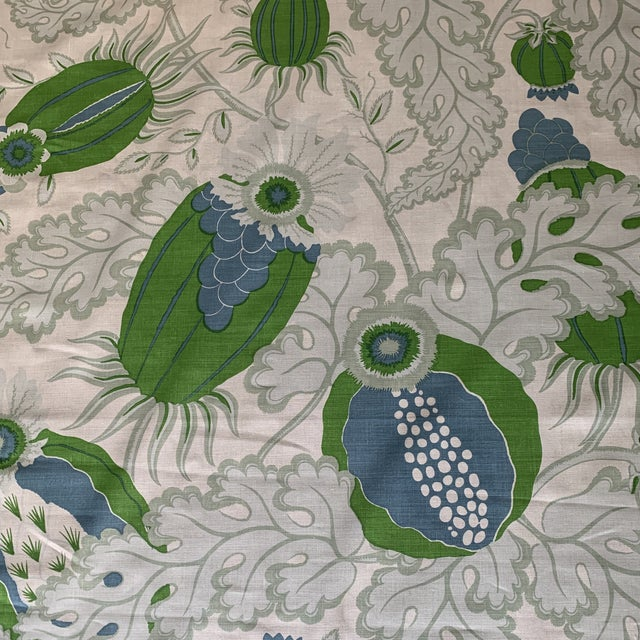 Christopher Farr Carnival Linen Fabric in Green and Blue -2 1/2 Yards For Sale