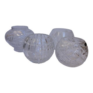 Crystal Ball Rose Bowl Vases - 4 For Sale