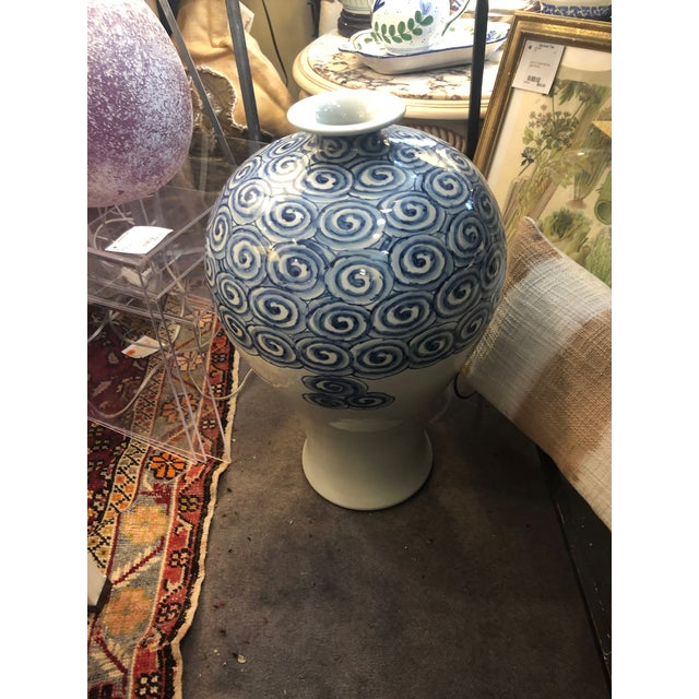 Contemporary Blue & White Swirl Vase For Sale In New York - Image 6 of 6