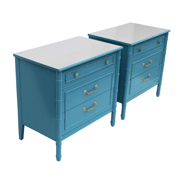 Blue Faux Bamboo Chests by Thomasville - A Pair For Sale - Image 8 of 10