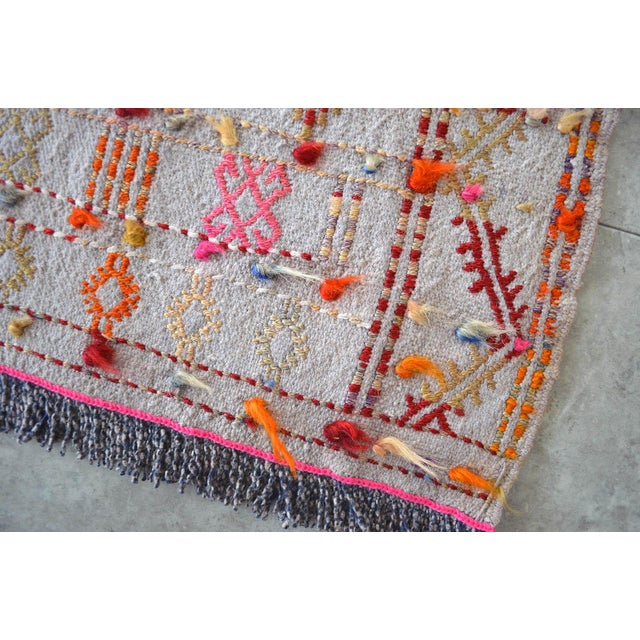 """Antique Anatolian Braided Rug Hand Woven Cotton Small Rug Sofreh - 3'7"""" X 3'10"""" For Sale In Raleigh - Image 6 of 8"""