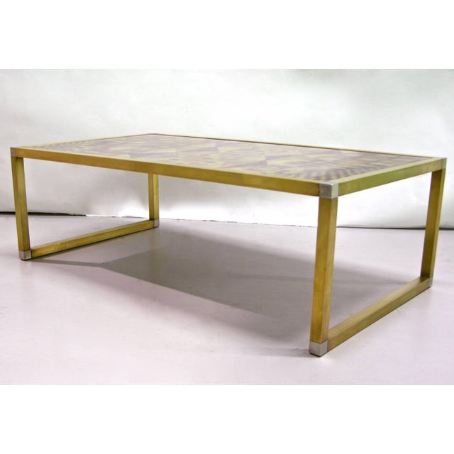 1970s 1970s Italian Art Deco Abstract Design Brass Coffee Table With Gold Leaf For Sale - Image 5 of 8