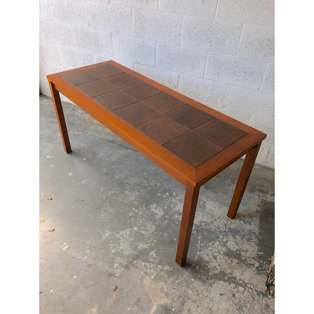 1980s Vintage Mid Century Danish Modern Tile Top Console/ Entry Table For Sale - Image 5 of 13