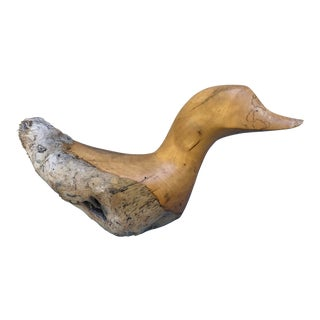 Carved Driftwood Mallard Duck Sculpture in Alder by Late Glenn Dobrusky For Sale